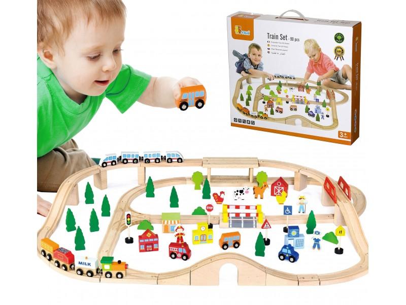 Drewniana Kolejka z pociągami tor dla dzieci 90 elementów Viga Toys