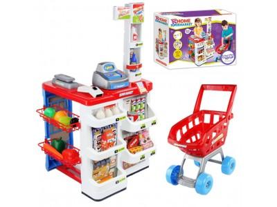 WOOPIE Sklep Supermarket z Wózkiem Na Zakupy Waga Kasa Sklepowa 24 akc.