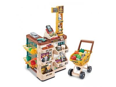 WOOPIE Sklep Supermarket z Wózkiem Waga Kasa Skaner + 48 Akc.