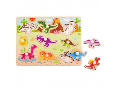 TOOKY TOY Drewniane Puzzle Układanka Dinozaury Kształty
