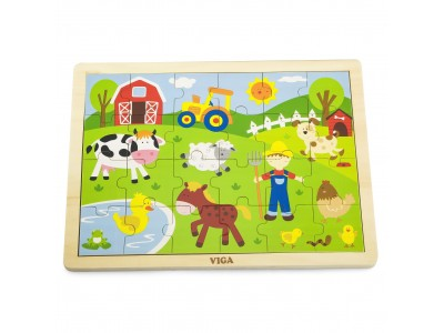 VIGA Drewniane Puzzle Farma 24 Elementy