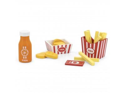 VIGA Drewniany Zestaw Fast Food Sok Frytki Nuggetsy ketchup
