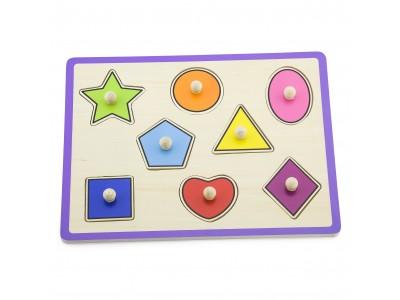 VIGA Drewniane Kolorowe Puzzle Z Pinezkami Kształty