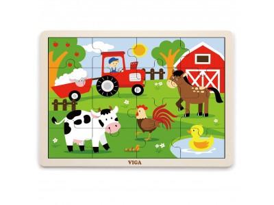 VIGA Drewniane Puzzle Farma 16 elementów Farma