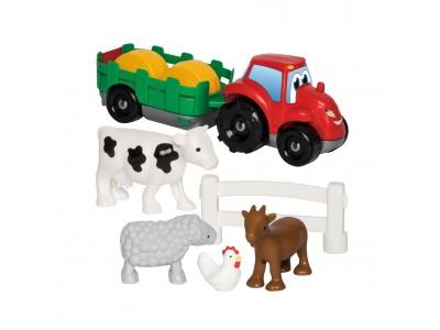 Ecoiffier Zestaw Małego Farmera Traktor Przyczepa Zwierzęta 10 el.