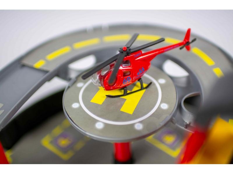 WOOPIE Tor Samochodowy Parking Składany W Oponie Helikopter + 2 Auta