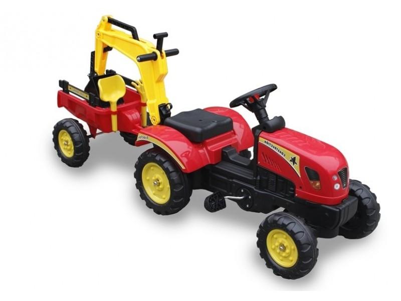 Traktor z Przyczepą i  Łyżką czerwony Pedały 3007