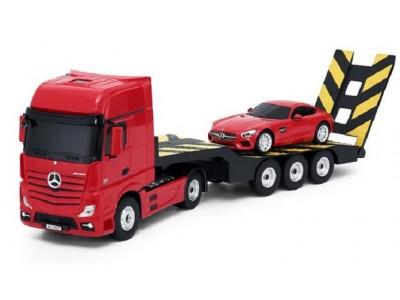 Mercedes-Benz Actros z lawetą 1:24 RTR 2.4GHz (akumulator, ładowarka sieciowa) - czerwony