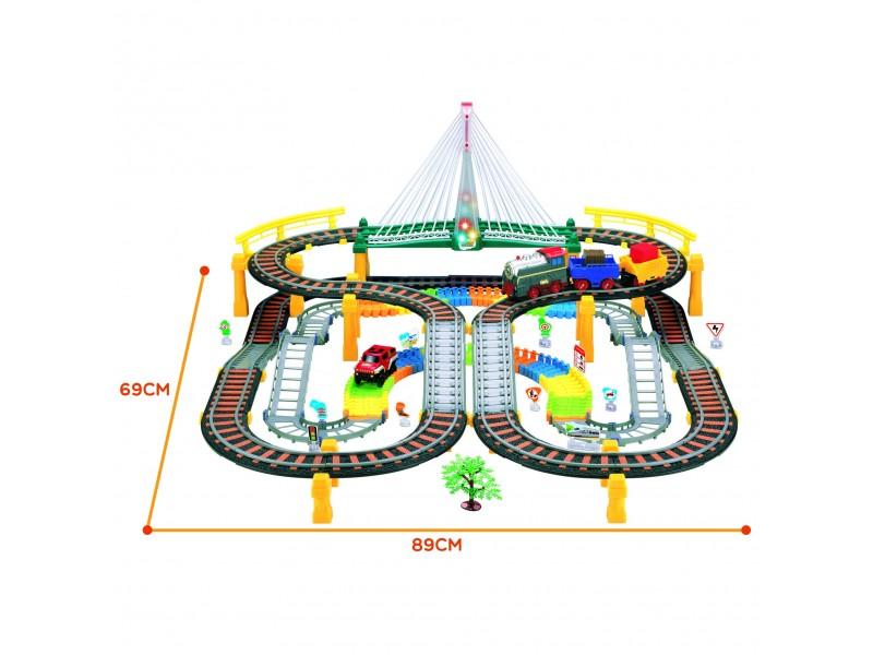 WOOPIE Kolejka Eelektryczna 2w1 Tor Wyścigowy Pociąg Wiadukt Auto XXL 192 el.