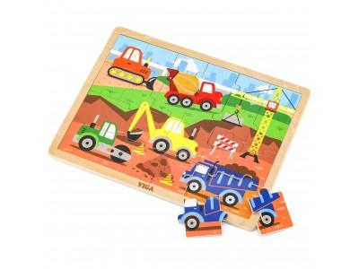 VIGA Drewniane Puzzle Pojazdy Budowlane 24 Elementy