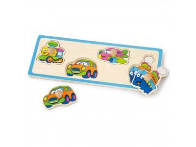 VIGA Drewniane Puzzle z Pinezkami Pojazdy