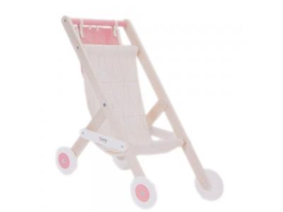 CLASSIC WORLD Drewniany Wózek Spacerówka Dla Lalek z Torbą na Akcesoria