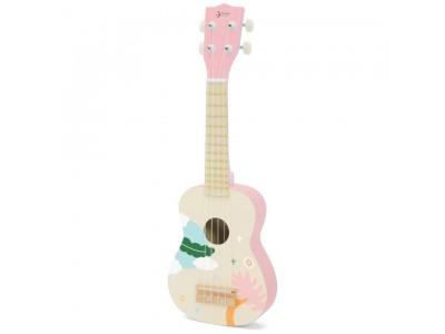 CLASSIC WORLD Drewniane Ukulele Gitara dla Dzieci Różowa
