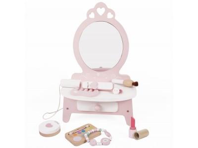 CLASSIC WORLD Drewniana Toaletka dla Dziewczynki z Lustrem + 11 akc