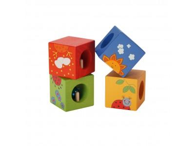 CLASSIC WORLD Drewniane Klocki Sensoryczne Układanka Edukacyjna Zwierzątka Puzzle dla Dzieci 4 el.