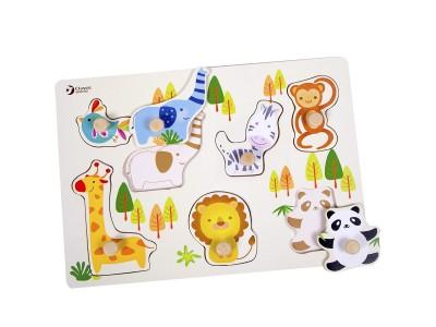 CLASSIC WORLD Drewniane Puzzle Zwierzątka z Pinezkami Układanka Dopasuj Kształty 8 el.