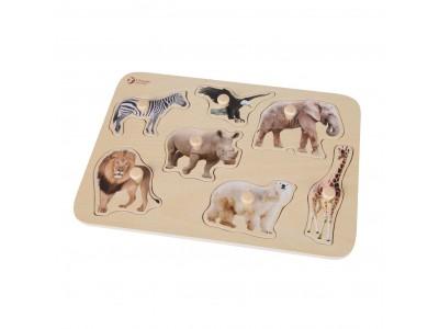 CLASSIC WORLD Drewniana Układanka dla Dzieci Zwierzątka Safari Dopasuj Kształty 9 el.