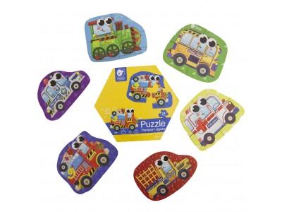 CLASSIC WORLD Drewniane Puzzle Pojazdy Transport Układanka Dla Dzieci 6 Obrazków 24 el.