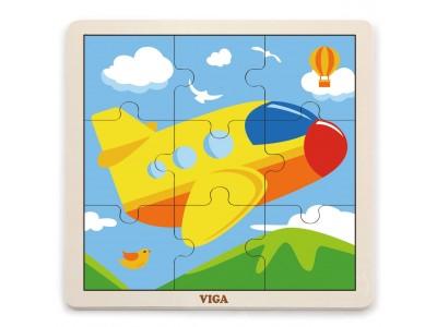 VIGA Poręczne Drewniane Puzzle Samolot 9 elementów