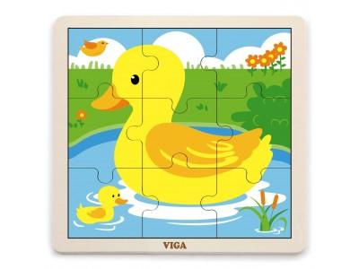 VIGA Poręczne Drewniane Puzzle Kaczuszka 9 elementów