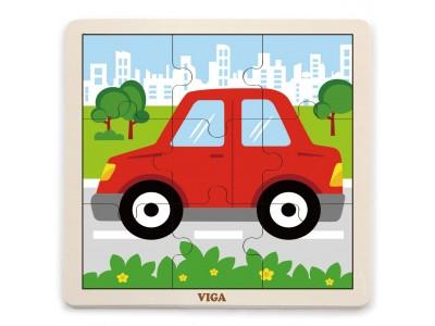 VIGA Poręczne Drewniane Puzzle Samochód  Auto 9 elementów