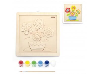 VIGA Zestaw Kreatywności DIY Malowanie Kwiaty