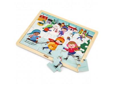 VIGA Drewniane Puzzle Zima 24 Elementy