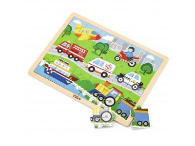 VIGA Drewniane Puzzle Pojazdy w mieście 24 Elementy