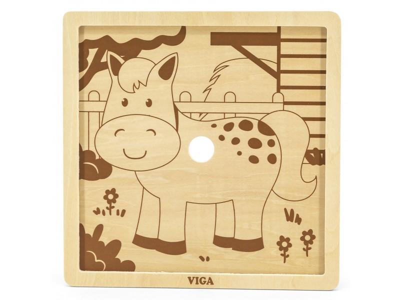VIGA Poręczne Drewniane Puzzle Konik 9 elementów