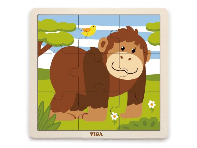 VIGA Poręczne Drewniane Puzzle Małpka 9 elementów