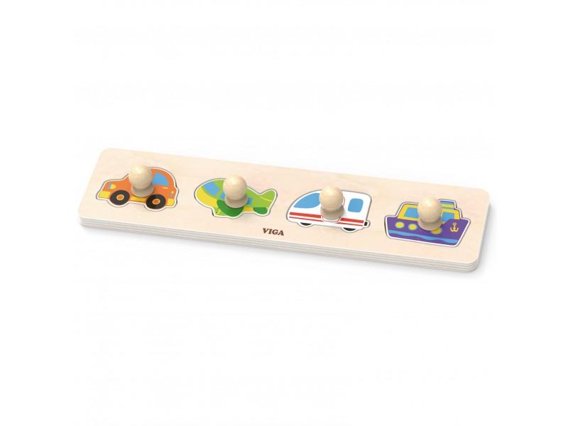 VIGA Drewniane Puzzle z Pinezkami Transport