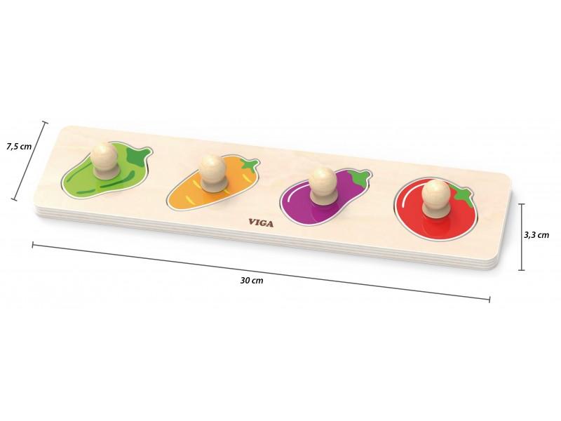 VIGA Drewniane Puzzle z Pinezkami Warzywa