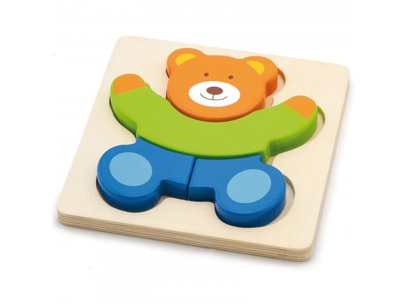 VIGA Pierwsze drewniane Puzzle maluszka Miś