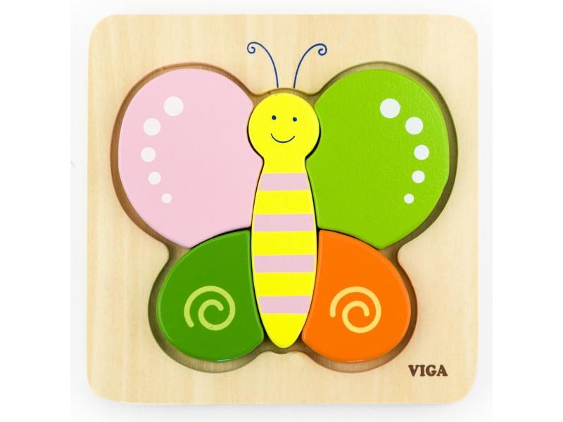 VIGA Pierwsze drewniane Puzzle maluszka Motylek