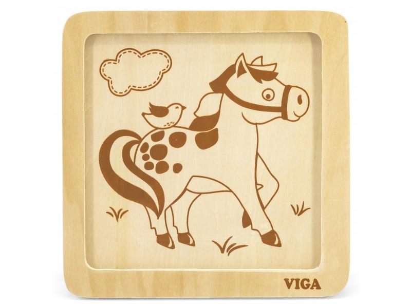 VIGA Poręczne Drewniane Puzzle Konik