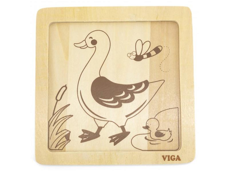 VIGA Poręczne Drewniane Puzzle Kaczuszka
