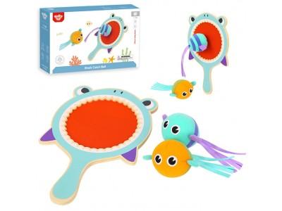 Tooky Toy Gra Zręcznościowa dla Dzieci Drewniana Paletka Rekin + 2 Rybki na Rzep do Łapania