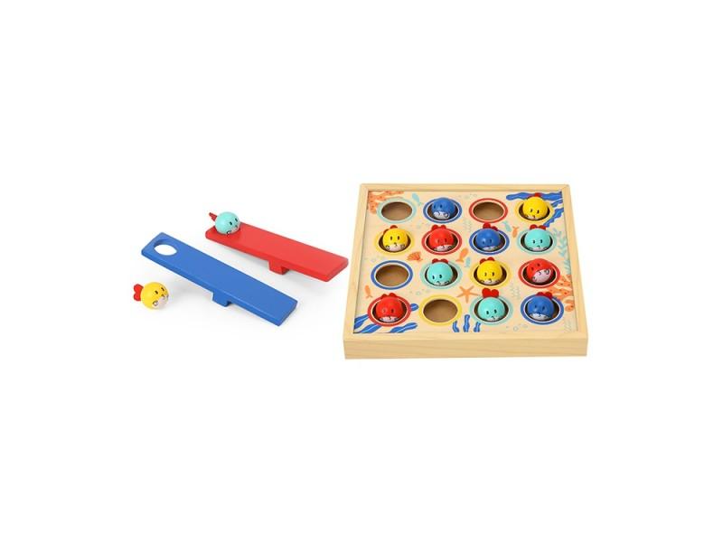 TOOKY TOY Gra dla Dzieci Drewniany Stół Latające Rybki 19 el.