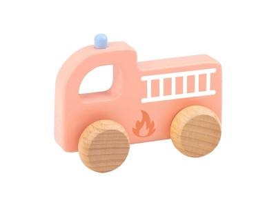 TOOKY TOY Drewniane Autko Straż Pożarna do Pchania dla Dzieci